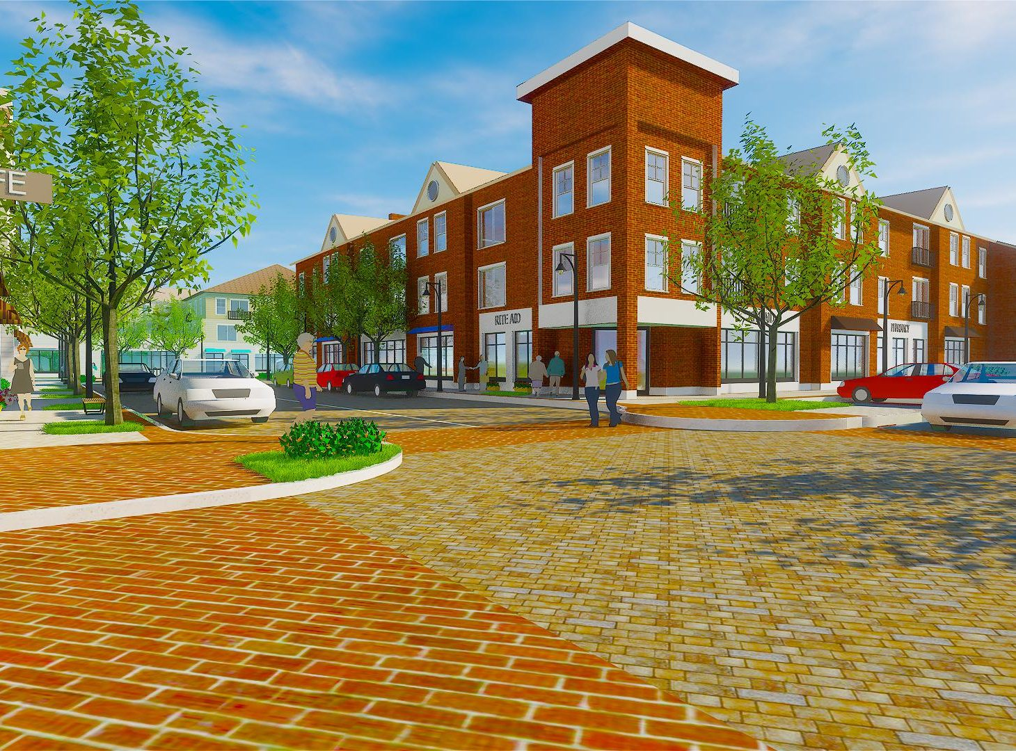 Durham Mill Plaza architectural rendering - central building from the street