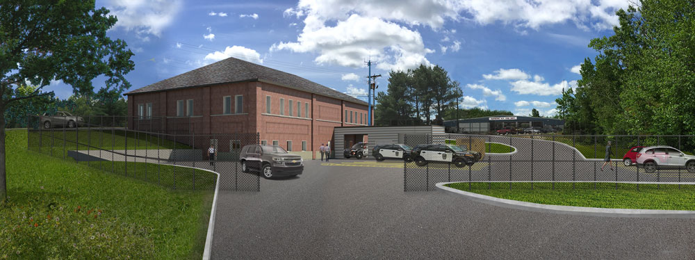 Town of Raymond, NH, police facility architectural rendering back view