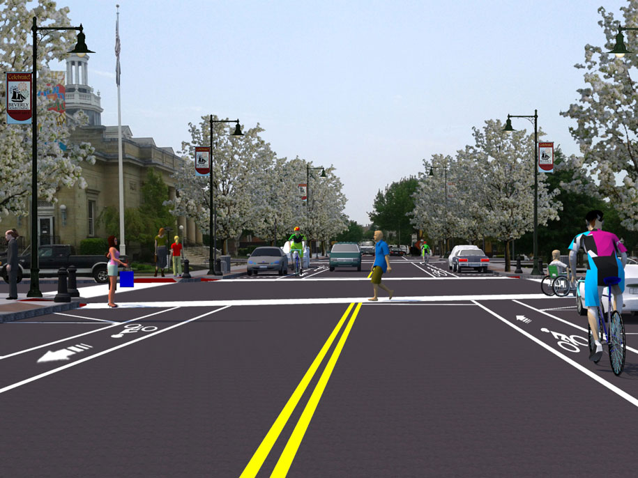 Beverly, MA, streetscape design illustration
