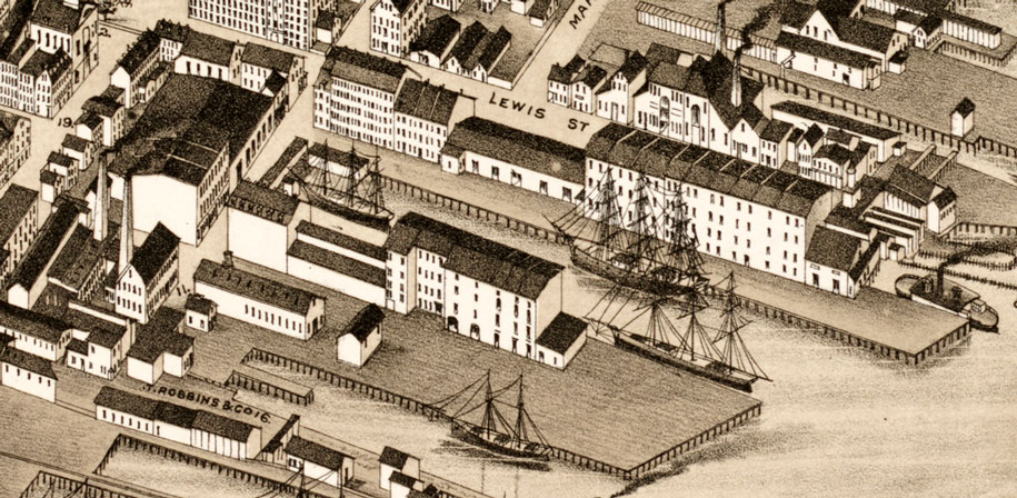 National Dock & Warehouse Co. old illustration