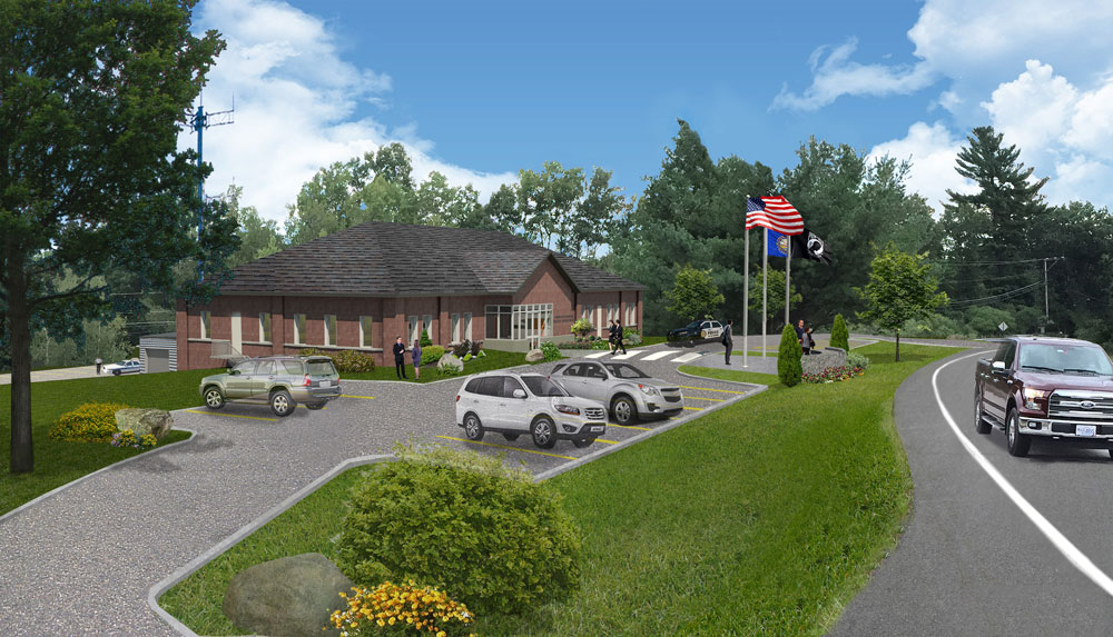 Town of Raymond, NH, police facility architectural rendering front view