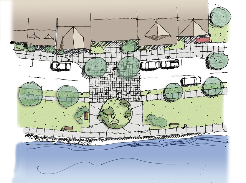 Dover Waterfront Design Guidelines rendering and plan illustration