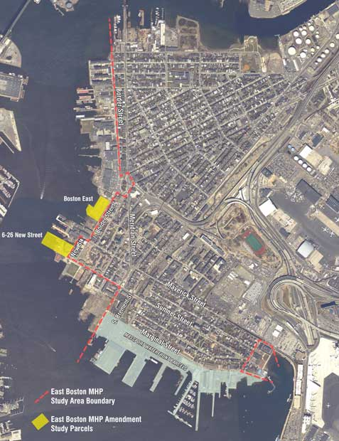 East Boston map of master harbor plan area