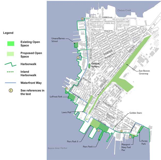 East Boston map of master harborwalk plan area