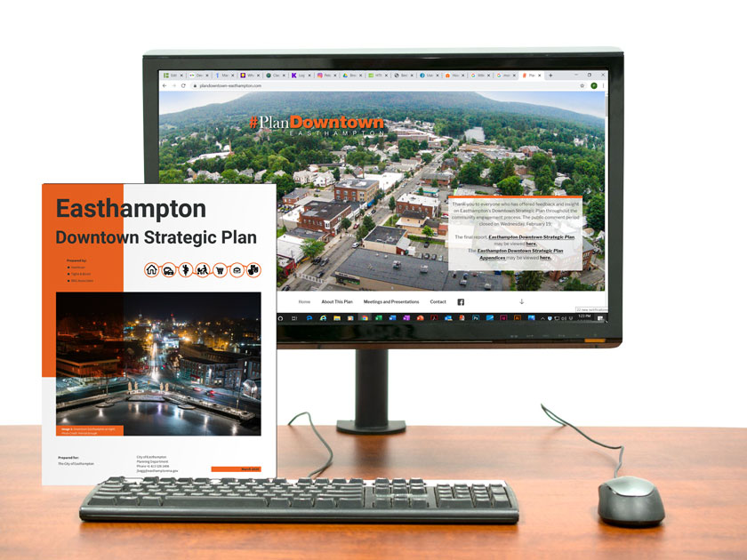Easthampton Downtown Strategic Plan Cover and Website