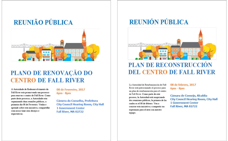 Fall River flyers in Spanish and Portuguese