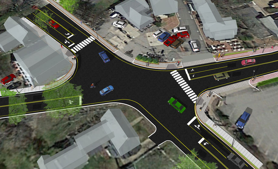 Kennebunk landscape and streetscape design illustration